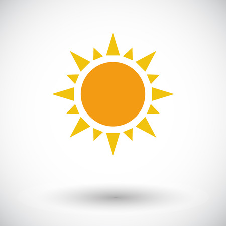 Sun. Single flat icon on white background. Vector illustration.