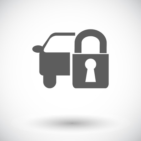 remote lock: Bloqueo de las puertas del coche. Solo icono de plano sobre fondo blanco. Ilustraci�n del vector.