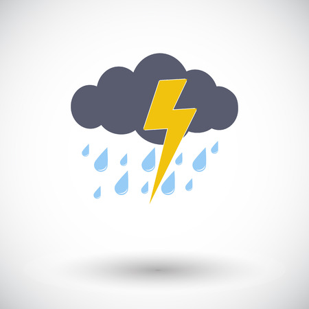 Storm. Single flat icon on white background. Vector illustration. Vector