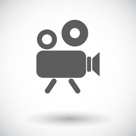 videocamera: Videocamera. Single flat icon on white background. Vector illustration.