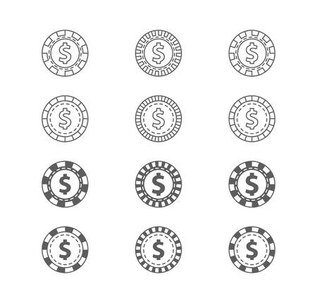 gambling chips: Set of casino gambling chips.