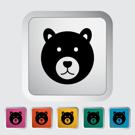 Bear. Single flat icon on the button. Vector illustration.