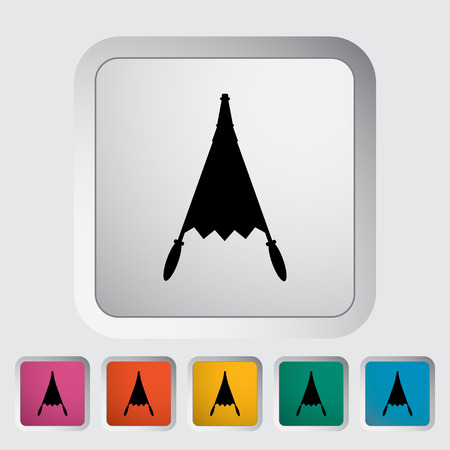 fireplace bellows: Belows. Single flat icon on the button. Vector illustration.