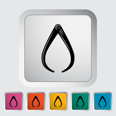 calliper: Calipers. Single flat icon on the button. Vector illustration.