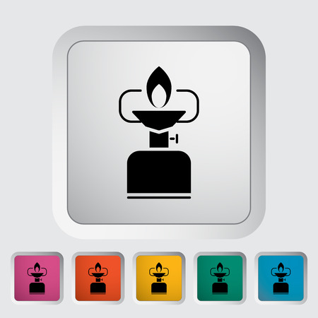 travel burner: Camping stove. Single flat icon on the button. Vector illustration. Illustration