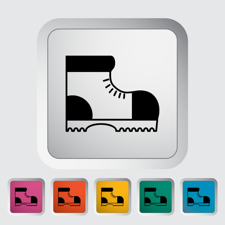 hiking shoes: Hiking shoes. Single flat icon on the button. Vector illustration.