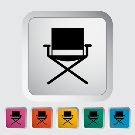 displaced: Camping chair. Single flat icon on the button. Vector illustration. Illustration