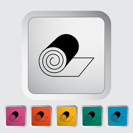 acolchado: Acampar colchoneta. Individual icono de plano sobre el bot�n. Ilustraci�n del vector.