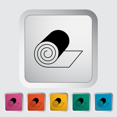 padded: Camping mat. Single flat icon on the button. Vector illustration. Illustration