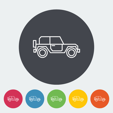 offroad: Offroad. Single flat icon on the circle. Vector illustration.