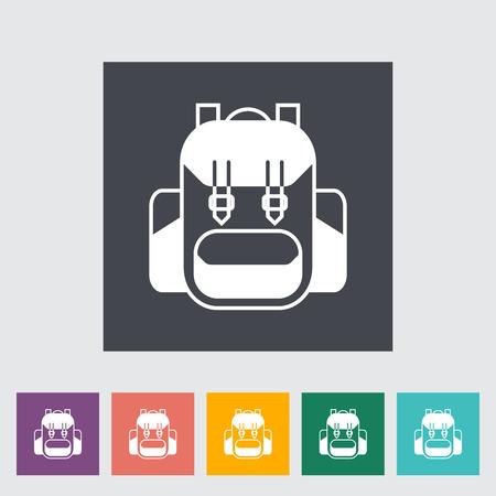 rucksack: Rucksack. Single flat icon on the button Illustration
