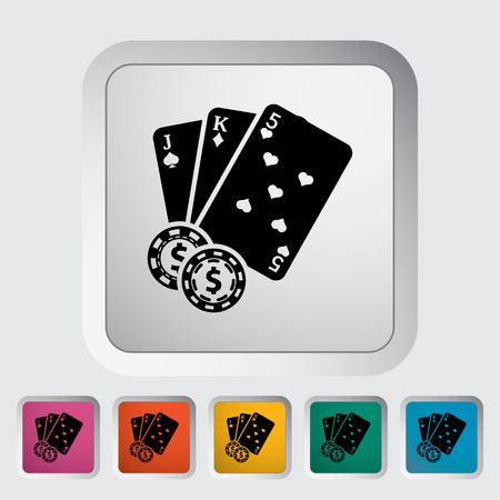 jack of hearts: Baccarat. Single flat icon on the button Illustration