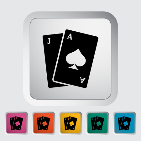 jack of hearts: Blackjack. Single flat icon on the button Illustration