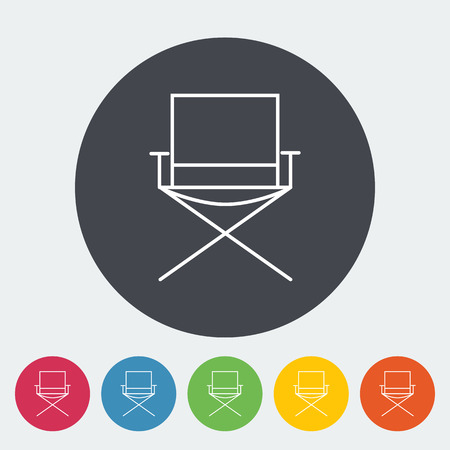 displaced: Camping chair. Single flat icon on the circle