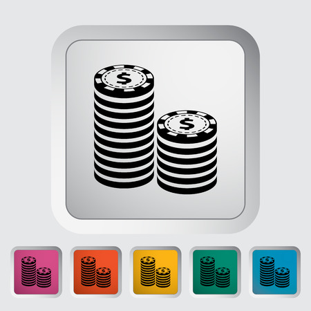 recreational pursuit: Gambling chips. Single flat icon on the button