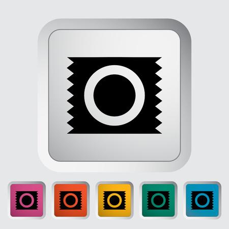 condom: Condom. Single flat icon on the button