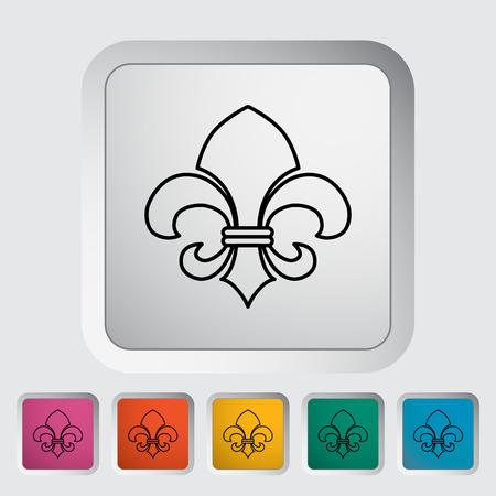 orleans symbol: Fleur. Single flat icon on the button. Illustration