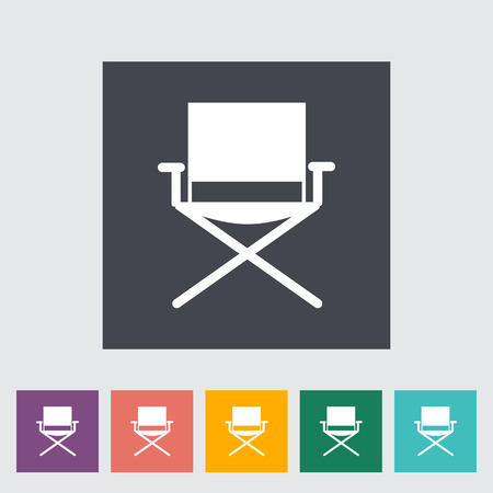 seated: Camping chair. Single flat icon on the button
