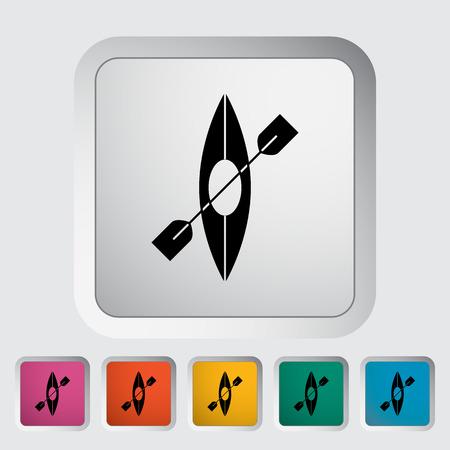 recreational pursuit: Canoe. Single flat icon on the button Illustration