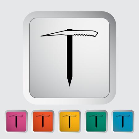 ice axe: Ice axe. Single flat icon on the button