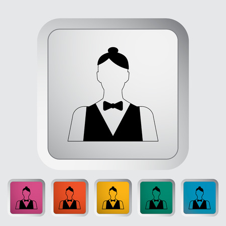 Live dealer. Single flat icon on the button Vector