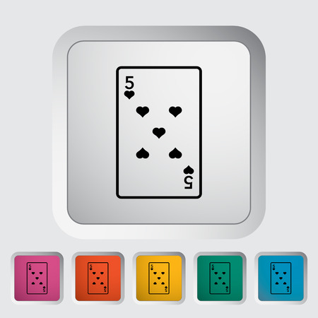 double the chances: Play card. Single flat icon on the button Illustration