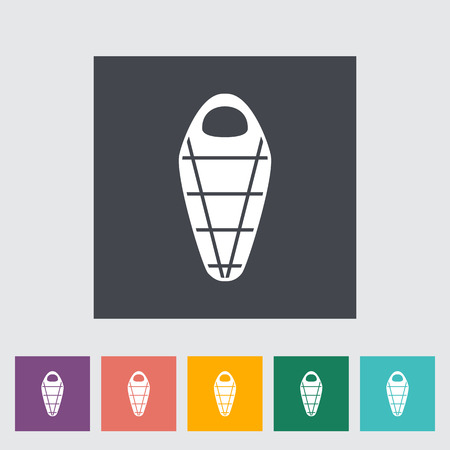 sleeping bags: Sleeping bag. Single flat icon on the button Illustration