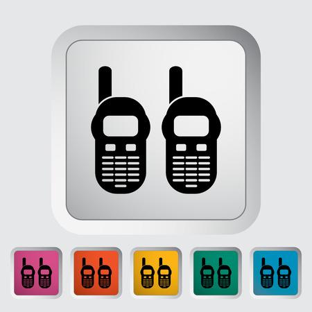portable radio: Radio port�til. Individual icono de plano sobre el bot�n