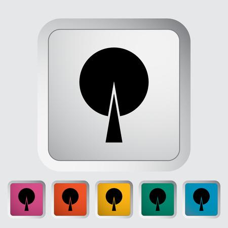 jednolitego: Drzewo. Jedynka płaskim ikona na przycisku