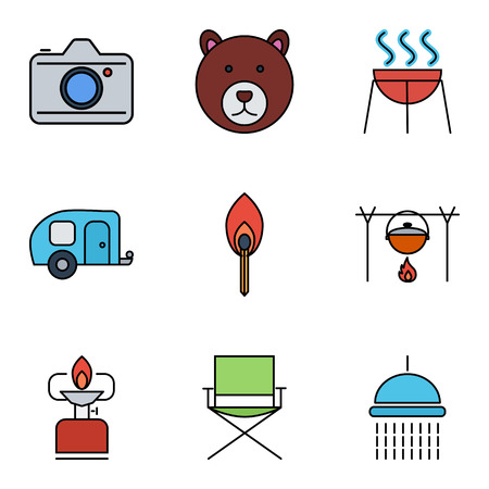 travel burner: Camping flat vector icon set for web and mobile applications. Set includes - bear, camera, BBQ, trailer, match, pot, camping stove, chair, shower. It can be used as - logo, pictogram, icon, infographic element. Illustration