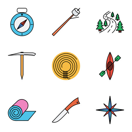 black white kayak: Camping flat vector icon set for web and mobile applications. Set includes - compass, marshmallov, road, ice axe, rope, canoe, penknife, mat, wind rose. It can be used as - logo, pictogram, icon, infographic element.