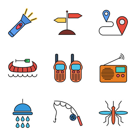 Camping flat vector icon set for web and mobile applications. Set includes - singpost, map pin, music radio, fishing rod, flashlight, canoe, portable radio, shower, mosquito.  It can be used as - logo, pictogram, icon, infographic element. Illustration