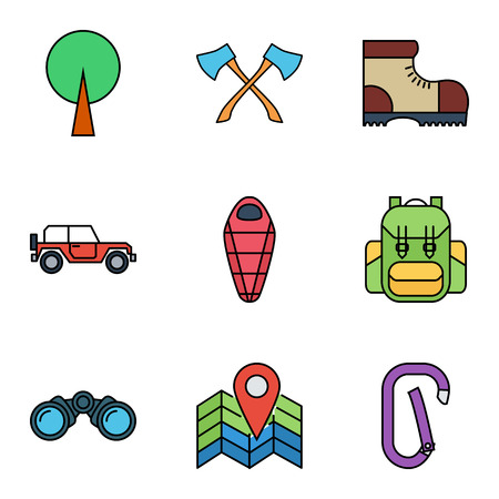 sleeping car: Camping flat vector icon set for web and mobile applications. Set includes - tree, axes, camping shoes, offroad car, sleeping bag, bagpack,map pin, binoculars, carabiner. It can be used as - logo, pictogram, icon, infographic element.