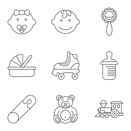 human face: Baby related flat icon set for web and mobile applications.