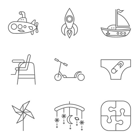 periscope: Baby thin line related icon set for web and mobile applications.
