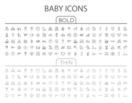 Baby flat vector related icon set for web and mobile applications. It can be used as -  pictogram, icon, infographic element. Vector Illustration.
