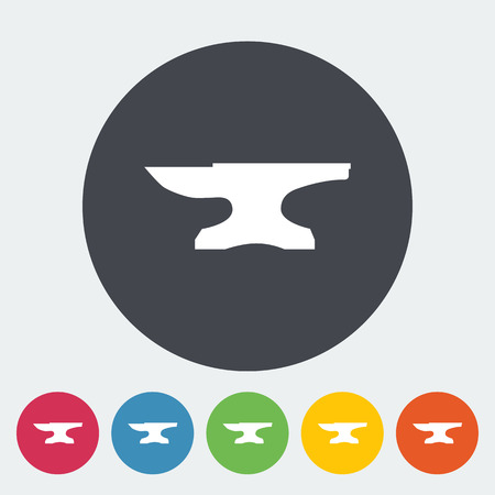 anvil: Anvil. Single flat icon on the circle button. Vector illustration.