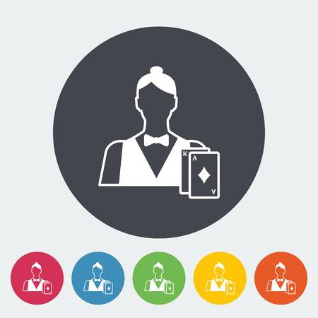 dealer: Live dealer. Single flat icon on the circle button. Vector illustration. Illustration