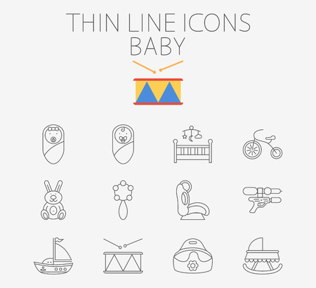 top gun: Baby icon related flat vector set for web and mobile applications. Set includes - baby boy, girl, crib, tricycle, rabbit, rattle, car seat, gun, ship, drum, potty, pictogram, infographic element Illustration