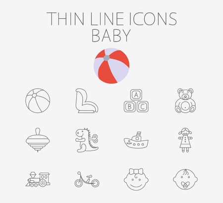 boy girl: Baby icon related flat vector set for web and mobile applications. Set includes - baby boy, girl, ball, car seat, ship, block, bear, whirligig, dinosaur, doll, train, bicycle, pictogram.