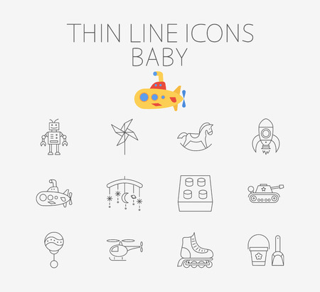 pail tank: Baby icon related flat vector set for web and mobile applications. Set includes - block, whirligig, robot, horse, rocket, submarine, tank, rattle, crib toy, helicopter, roller skate, pail and shovel.