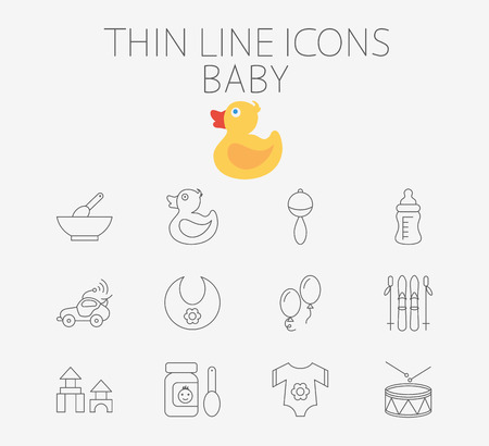 car clothes: Baby icon related flat vector for web and mobile applications. Set includes - rattle, baby food, duck, feeding bottle, car, bib, ballon, skiing, blocks, clothes, drum. Pictogram, infographic element.