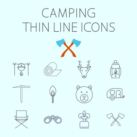 ice axe: Camping icon related flat vector set for web and mobile applications. Set includes - pot, mat, deer, lantern, ice axe, bear, chair, axe, match, trailer, binoculars, gas stove. Logo, pictogram, infographic element