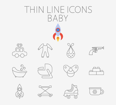 top gun: Baby icon related flat vector for web and mobile applications. Set includes - car, bib, blocks, potty, roller skate, gun, bath, car seat, nipple, rocket, baby walker. Pictogram, infographic element. Illustration