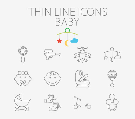 top gun: Baby icon related flat vector for web and mobile applications. Set includes - gun, car seat, nipple, airplane, rattle, crib toy, boy, baby girl, pram, socks, scooter. Pictogram, infographic element. Illustration