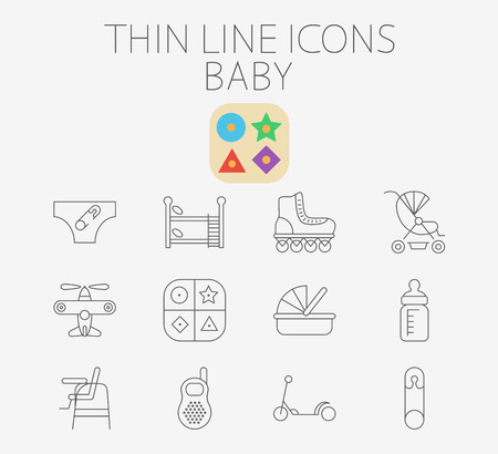 bunk bed: Baby icon related flat vector for web and mobile. Set includes - pin, airplane, crib, pram, scooter, diapers, bunk bed, roller skate, educational game, feeding bottle, chair for babies, baby monitor.