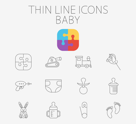 top gun: Baby icon related flat vector for web and mobile applications. Set includes - pin, diapers, feeding bottle, puzzle, tank, train, horse, gun, footprint, rabbit, nipple. Pictogram, infographic element.
