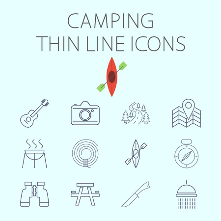table knife: Camping icon related flat vector for web and mobile applications. Set includes - binoculars, guitar, cam, road, map pin, BBQ, rope, kayak, compass, table, knife, shower. Pictogram, infographic element Illustration