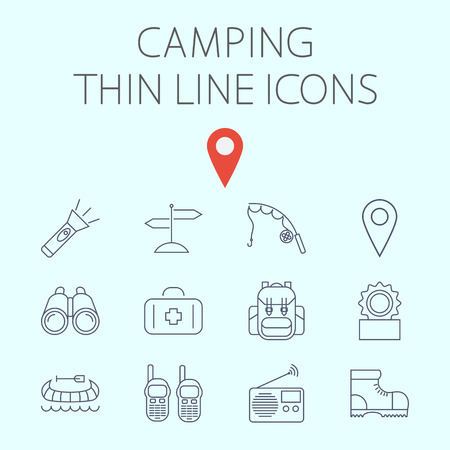 portable radio: Camping icon related flat vector for web and mobile applications. Set includes - binoculars, map pin, kayak, flashlight, signpost, fishing rod, first aid, backpack, canned food, portable radio, shoes Illustration