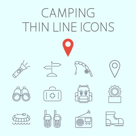 portable radio: Icono de camping relacionado vector plana para web y aplicaciones m�viles. El juego incluye - binoculares, pin de mapa, kayak, linterna, se�al, barra de pesca, primeros auxilios, mochila, comida enlatada, radio port�til, zapatos